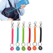 6 Colors Plastic Spring Coil Retractable Spiral Keyring Lobster Clasp Key Chains