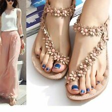 New Summer Women Bohemia Floral Flat Shoes Beach Sandal Thong Slippers Flip Flop