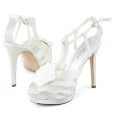 Ladies white wedding dress shoes ankle straps high heel Stiletto sandals size AU