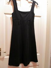 West One Black Heavyweight Jersey Retro 60s Style Pinafore Dress Small Size