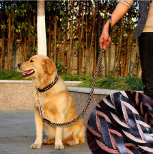 Large Dog Leashes Collar Cowhide Chain Genuine Leather Pet Leashes Heavy Duty