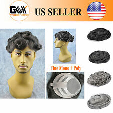 GEX Fine Mono+Poly Mens HairPiece Toupee Wig Black With Gray Poly Base Bond