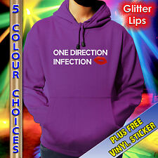 ONE DIRECTION HOODIE - 1D INFECTION - RED GLITTER - KIDS TEENS ADULTS