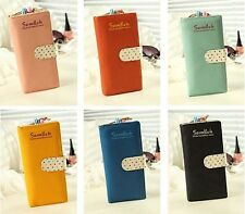Ladies Cute Polka Dot Paragraph Multi-card Bit Long Retro Zipper Wallet CB