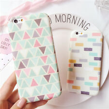 For iPhone 6 6S 6 Plus Stylish Korean Geometry Pattern TPU Plastic Case Cover
