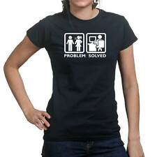 Problem Solved PC Computer Geek Nerd Funny Ladies T shirt Tee Top T-shirt