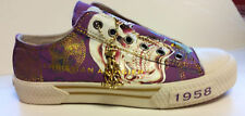 Women's Christian Audigier ED Hardy Purple Gold Skull Slip On Shoes