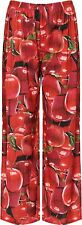 New Womens Plus Size Red Apple Print Wide Leg Palazzo Trousers 8-26