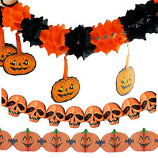 New Halloween Paper Garland Pumpkin Skull Decoration Scary For Halloween Party