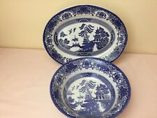 EIT English Ironstone Old Willow Blue & White Platter & Round Serving Bowl