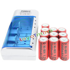 10xD size 11000mAh Rechargeable Battery Ni-MH 1.2V+C/D AA Size Univeral Charger
