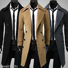 JD Autumn Men Woolen Overcoat Double Breasted Long Trench Coat Slim Jacket