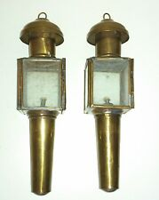 PAIR OF AUTHENTIC ANTIQUE BRASS COACH / BUGGY OIL LAMPS