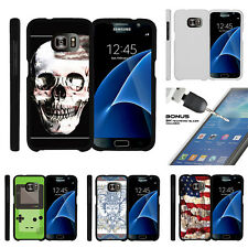 For Samsung Galaxy S7 G930 Snap On 2 Piece Case + Tempered Glass - USA Skull