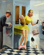 Art Frahm-Number Please, Canvas/Paper Print, Pinup Girl, Phone Booth