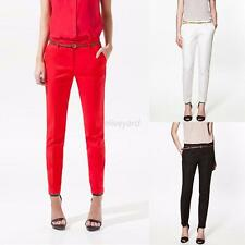 Candy Color Women OL Ladies Casual Skinny Belted Pencil Pants Fashion Trousers