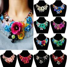 Chic Statement Choker Flower Necklace Crystal Chunky Collar Pendant Jewelry Gift