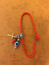 RED KABBALAH STRING BRACELET, evil eye,cross , italian horn, anklet, good luck
