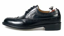HANDMADE Men's Leather Oxfords Wingtip Derby Blucher Black Dress Shoes 1284