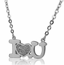 New Stainless Steel I Love You Heart Pendant Necklace cz For Women And Girls