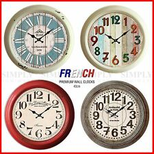 Vintage Retro Metal Wall Clock Shabby Chic Rustic Silent Roman Kitchen Art 40cm