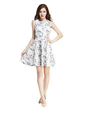 Amee Hanke Women Floral Empire Waist Pleated Skater A-line Party Cocktail Dress