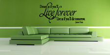James Dean Inspired Wall Decal Dream As If You'll Live Forever Quote Vinyl Decor