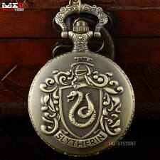 Bronze Harry Potter Slytherin Pocket Watch Quartz Necklace Chain Pendant Gift US