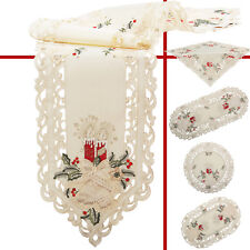Christmas Tablecloth Table runners Doily Placemats Cream Red Candle Embroidery