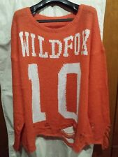 Wildfox Knit Long Oversized Knit Distressed 10 Bright Orange New