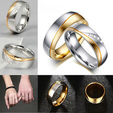 Titanium Steel Rhinestone Couple Ring Men/Women's 18K Gold Plated Wedding Ring