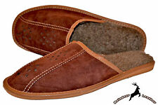 Mens Real Suede Leather Brown Warm Wool Winter Slippers Shoes Handmade Slip On