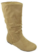 Soda Women Flat Slouchy Basic Boots Mid Calf  Faux Slip on Beige Suede ZURICH