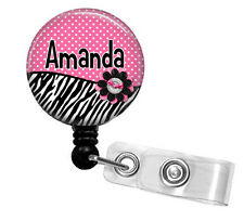 PERSONALIZED PINK POLKA ZEBRA RETRACTABLE ID BADGE HOLDER LANYARD
