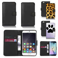 black pu leather wallet case cover for many mobiles design ref q355