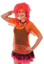 Womens Orange Mesh Top Fancy Dress Costume Punk Rocker 1980S Emo Rave Outfit