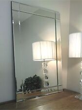 Lewis Silver Glass Framed Rectangle Art Deco Wall Mirror 40