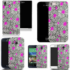 gel case cover for many mobiles - pink luring daisy silicone