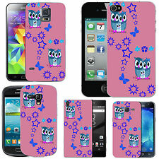 gel case cover for many mobiles - roseate aqua family owl stars silicone