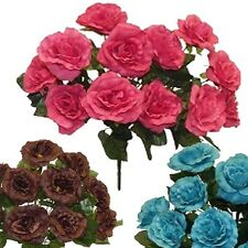 16 inch Open Roses w 12 roses Silk Flowers, Artificial Wedding Arrangements
