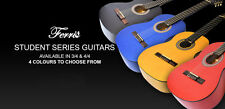 Ferris Student Classical Guitar 3/4 or 4/4 Natural Red Blue or Black