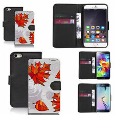 pu leather wallet case for many Mobile phones - leaf