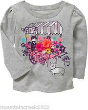 BABY GAP Girls Shirt Size 18 24 months Flower Cart Long Sleeve Cotton Tee NEW