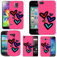 gel case cover for many mobiles -  blush assorted rigid heart silicone