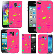 gel case cover for many mobiles - blush multi flamingo droplet silicone