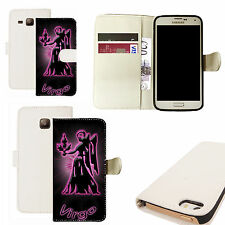 pu leather wallet case for majority Mobile phones - pink virgo white