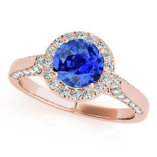 1.35 Ct. Halo Tanzanite And Diamond Engagement  Ring Crafted In 14k Solid Gold