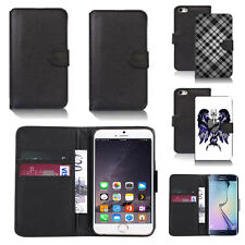 black pu leather wallet case cover for many mobiles design ref q609