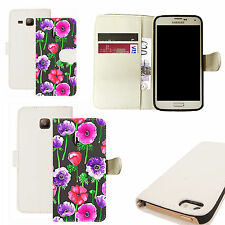 pu leather wallet case for majority Mobile phones - populous poppy white