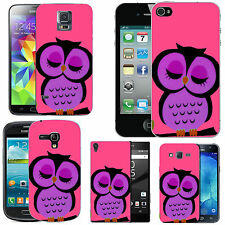 gel case cover for many mobiles - blush purple tired owl..silicone